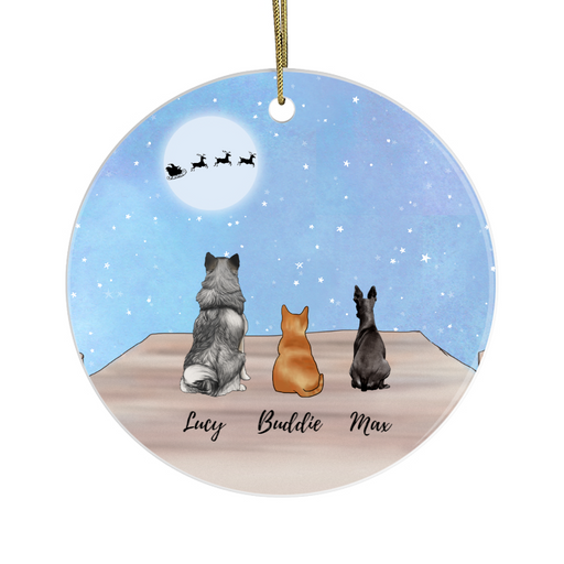 Personalized Ornament - Two Dogs And Cat Custom Gift For Christmas