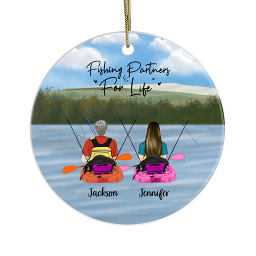 Personalized Ornament - Kayak Fishing Partners Couple Gift For Fishing Lovers