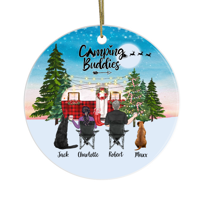 Personalized Ornament - Couple and Dogs Christmas Custom Gift For Camping Lovers
