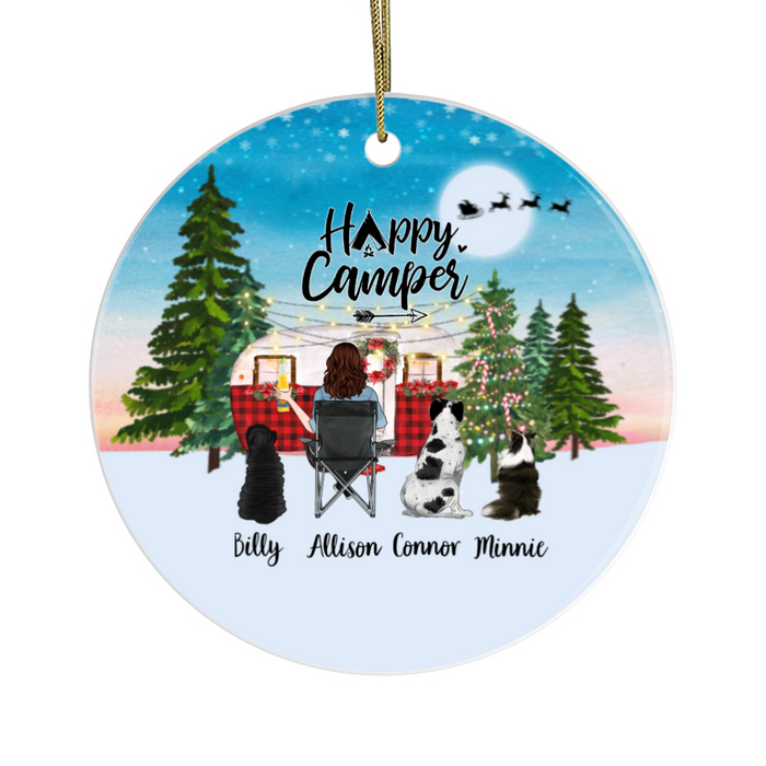 Personalized Ornament - Camping Woman with Dogs Custom Gift for Christmas