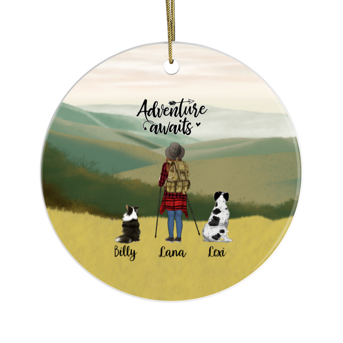 Personalized Ornament - Hiking Woman and Dogs Custom Gift for Christmas