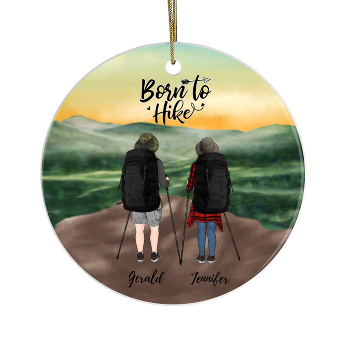 Personalized Circle Ornament - Hiking Couple and Friends Custom Gift For Christmas