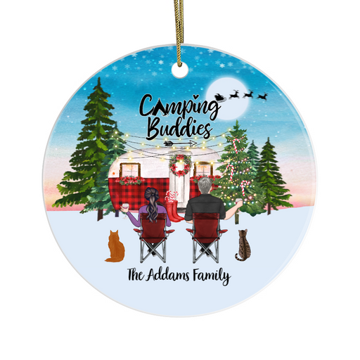 Personalized Ornament, Camping Couple and Cats Custom Gift For Christmas