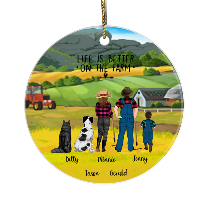 Personalized Circle Ornament - Farming Parents and Kid with Dogs Custom Gift for Christmas