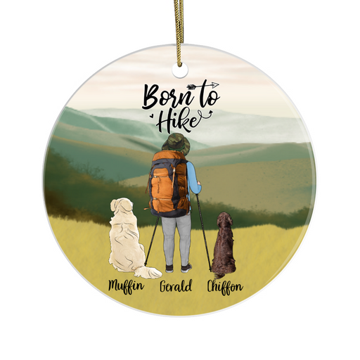 Personalized Ornament, Hiking Man with Dogs Custom Gift for Christmas