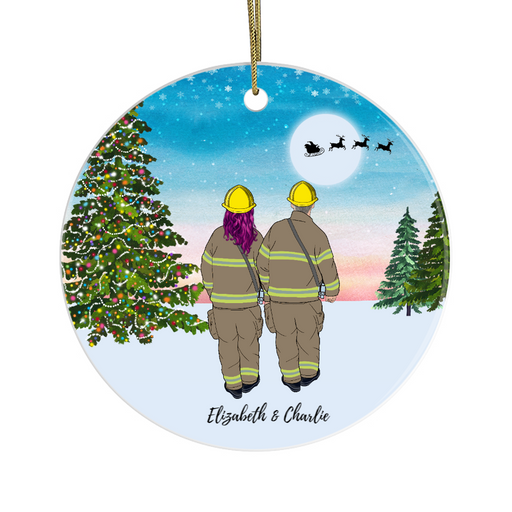 Personalized Ornament, Firefighter Couple Gift For Christmas