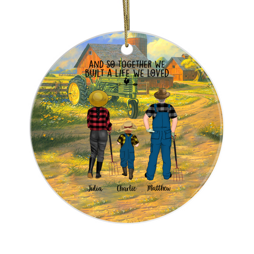 Personalized Ornament - Farming Couple And Kids Christmas Custom Gift For Farmers