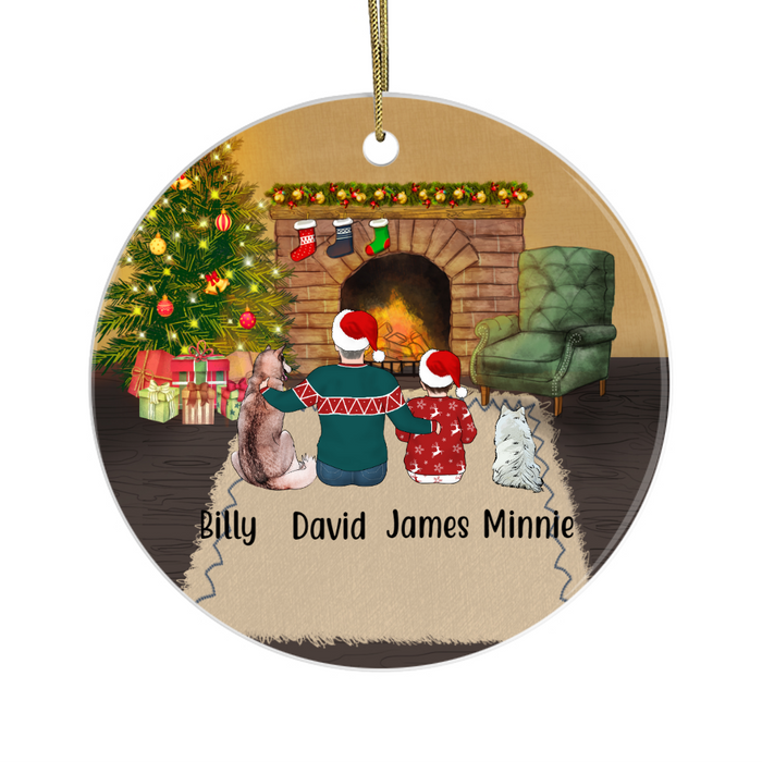 Personalized Ornament - Man and Kid with Dogs Custom Gift for Christmas