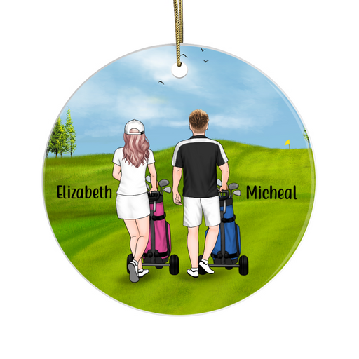 Personalized Ornament - Golf Pushing Cart Couple And Friends Custom Gift For Christmas