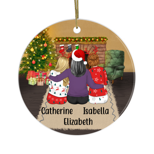 Personalized Circle Ornament - Mother And Daughters Custom Gift For Christmas