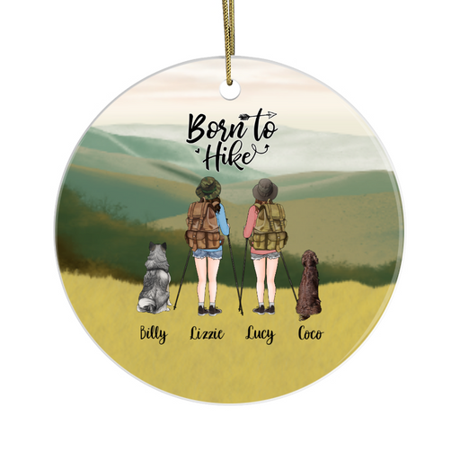 Personalized Ornament, Two Hiking Women and Dogs Custom Gift for Christmas