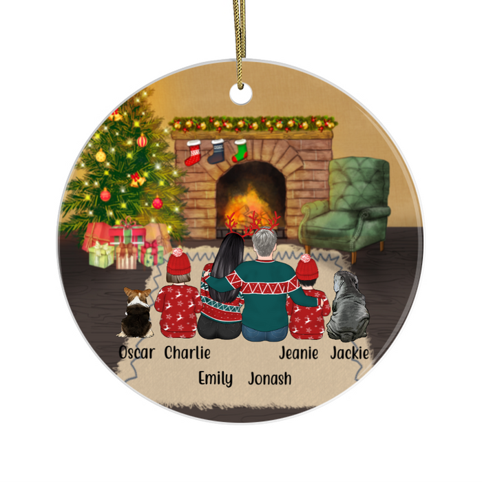 Personalized Ornament, Couple And Two Kids With Dogs Custom Gift For Christmas