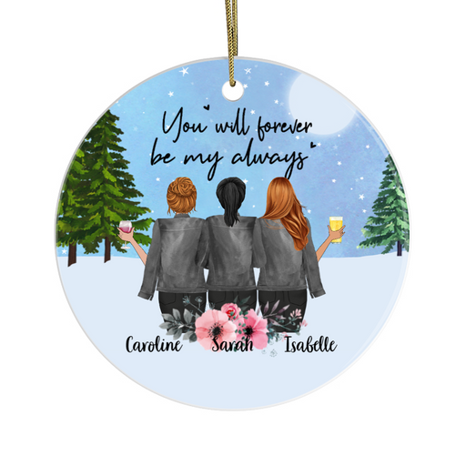 Personalized Circle Ornament - Christmas Girls Custom Gift For Sisters Besties