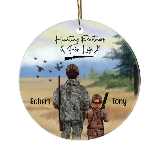 Personalized Circle Ornament - Man With Kid Hunting Partners for Hunting Lovers