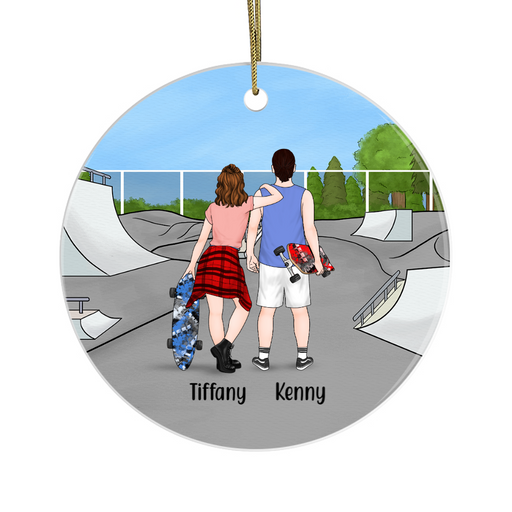 Personalized Ornament - Skateboarding Couple Christmas Custom Gift For Skateboard Lovers