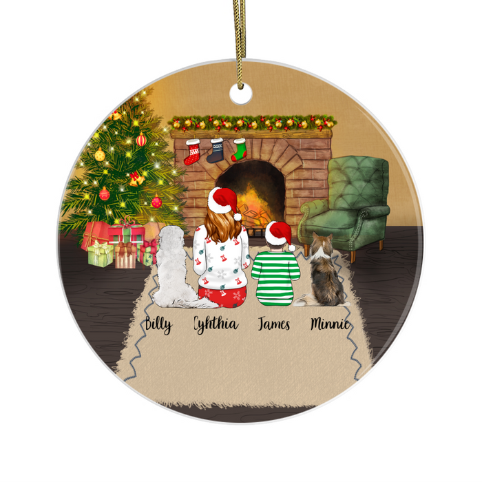 Personalized Ornament - Woman and Kid with Dogs Custom Gift for Christmas
