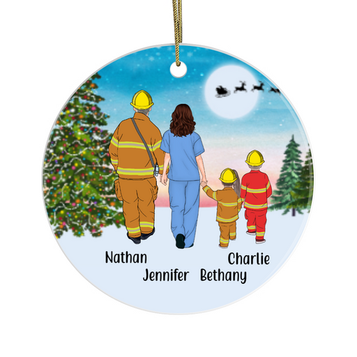 Personalized Ornament, Firefighter Dad, Nurse Mom and Two Kids Custom Gift for Christmas