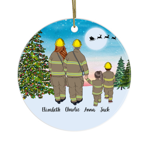 Personalized Ornament, Firefighter Parents And Two Kids Gift For Christmas