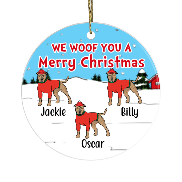 Personalized Ornament, Pitbull Walking Christmas Custom Gift For Dog Lovers