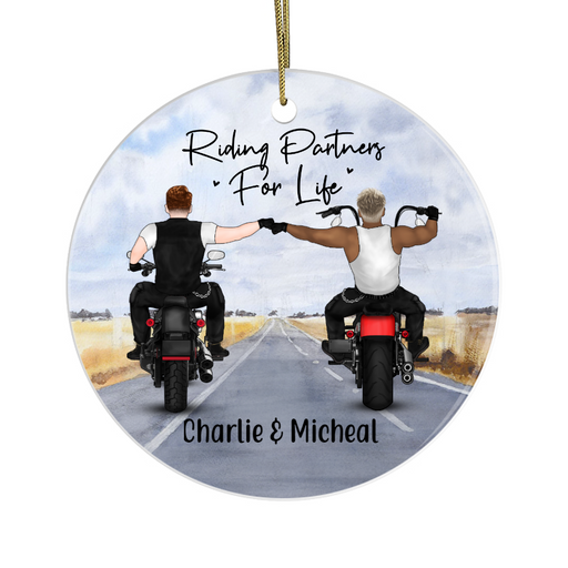 Personalized Circle Ornament - Two Biker Partners Custom Gift For Motorbike Lovers
