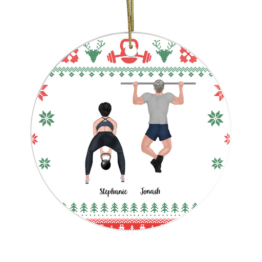 Personalized Ornament, Workout Couple Christmas Custom Gift For Gym Lovers