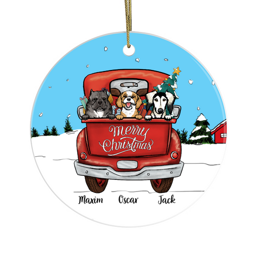 Personalized Ornament, Dogs On Christmas Truck Custom Gift For Dogs Lovers