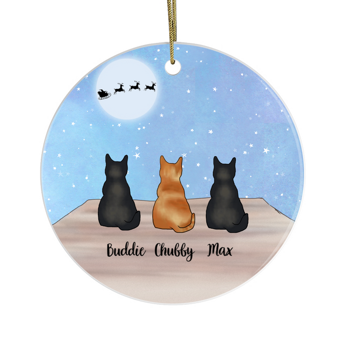 Personalized Ornament, Up To Five Cats Custom Gift For Christmas