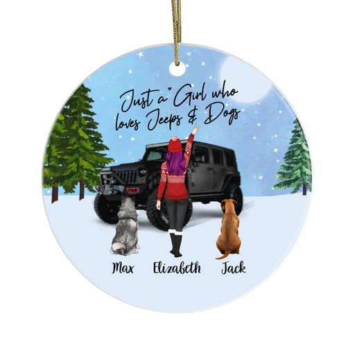 Personalized Ornament - Girl Car with Dogs Custom Gift For Christmas
