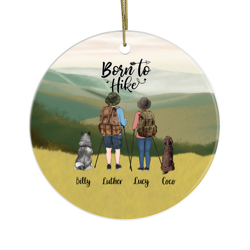 Personalized Ornament, Hiking Couple and Dogs Custom Gift for Dog Lovers