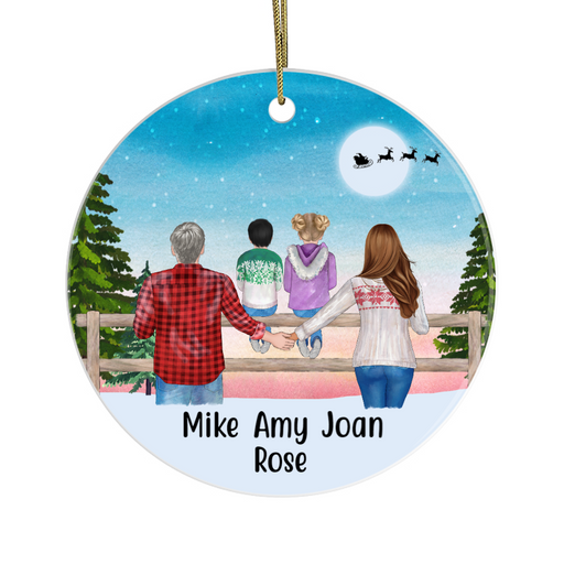 Personalized Ornament - Couple And Kids Standing Custom Gift For Christmas