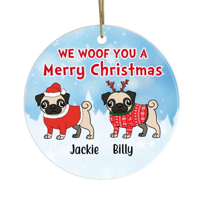 Personalized Ornament - Pug Walking Christmas Custom Gift For Dog Lovers