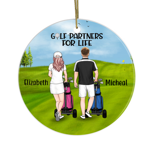 Personalized Circle Ornament - Man and Woman Golf Pushing Cart Custom Gift For Christmas