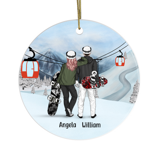 Personalized Ornament - Snowboarding Couple Christmas Custom Gift For Snowboaders