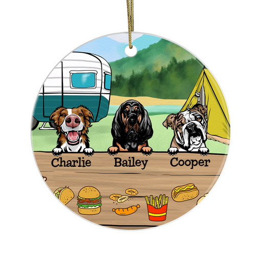 Personalized Ornament, Camping Dog Custom Gift For Dogs Lovers