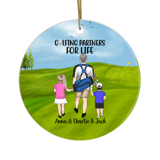 Personalized Circle Ornament - Golf Family Custom Gift For Christmas