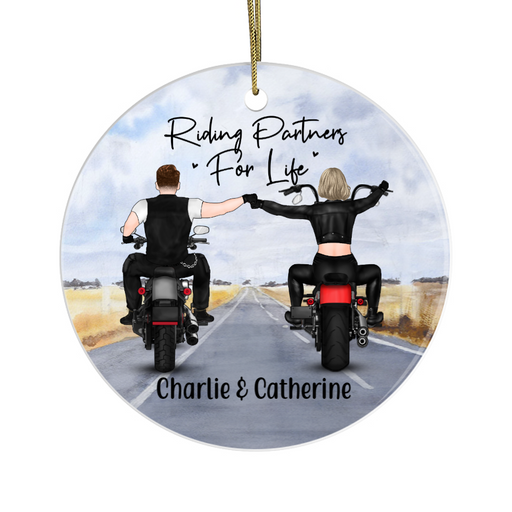 Personalized Ornament - Couple Biker Partners Custom Gift For Motorbike Lovers