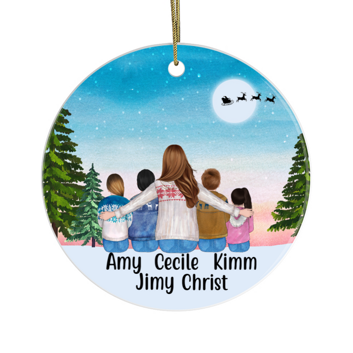 Personalized Ornament - Sitting Woman And Four Kids Custom Gift For Christmas
