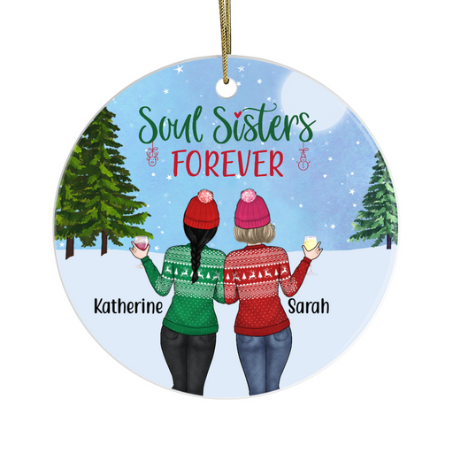 Personalized Ornament - Winter Sisters Best Friends Custom Gift For Christmas