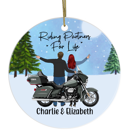 Personalized Circle Ornament - Motorcycle Couple Custom Gift For Christmas