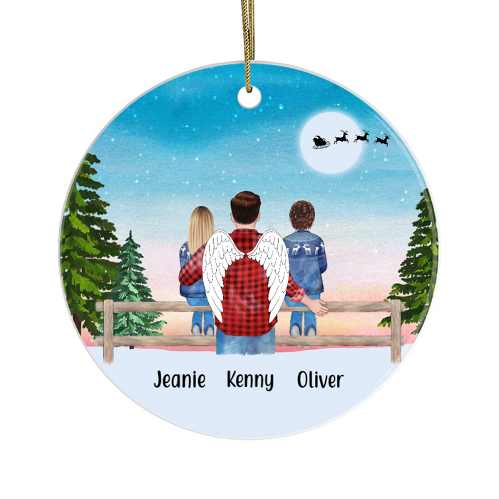 Personalized Ornament, Memorial Man And Two Kids Standing Custom Gift For Christmas