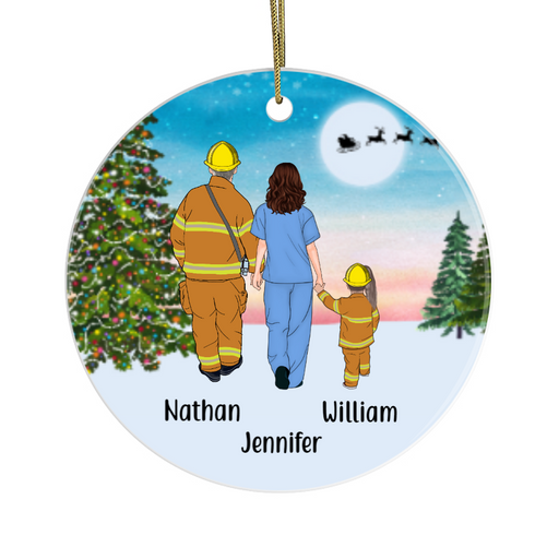 Personalized Ornament, Firefighter Dad, Nurse Mom and Kid Custom Gift for Christmas