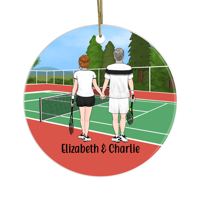 Personalized Circle Ornament- Tennis Couple And Friends Custom Gift for Christmas
