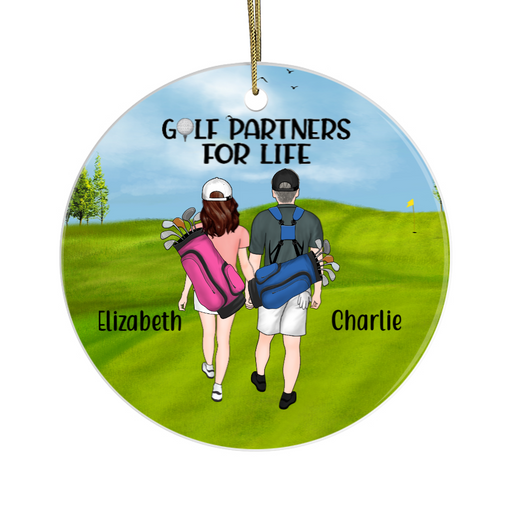 Personalized Circle Ornament - New Font Golf Couple And Friends Custom Gift For Christmas