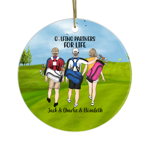 Personalized Circle Ornament - Three Golf Friends Custom Gift For Christmas