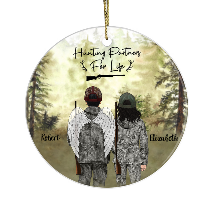 Personalized Circle Ornament - Memorial Dad Hunting With Daughter Christmas Custom Gift For Hunting Lovers