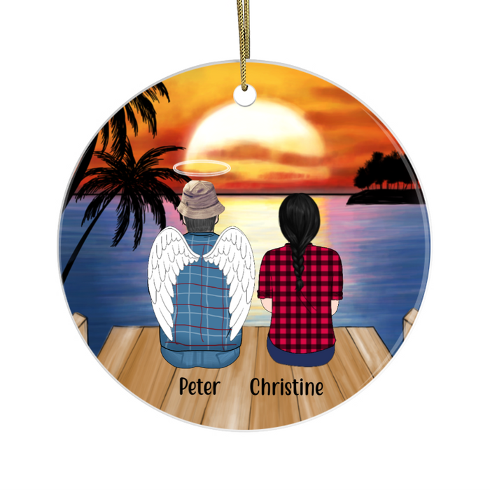Personalized Ornament, Memorial Man with Girl Christmas Custom Gift For Family