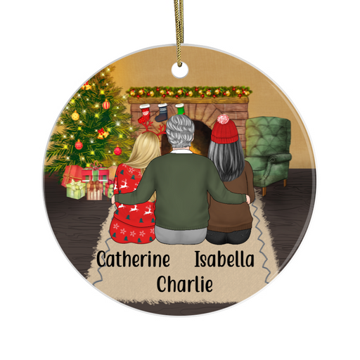 Personalized Circle Ornament - Father Mother And Daughters Custom Gift For Christmas