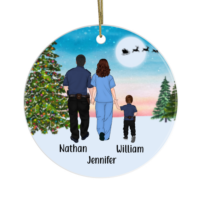 Personalized Ornament, Police Dad, Nurse Mom and Kid Custom Gift for Christmas