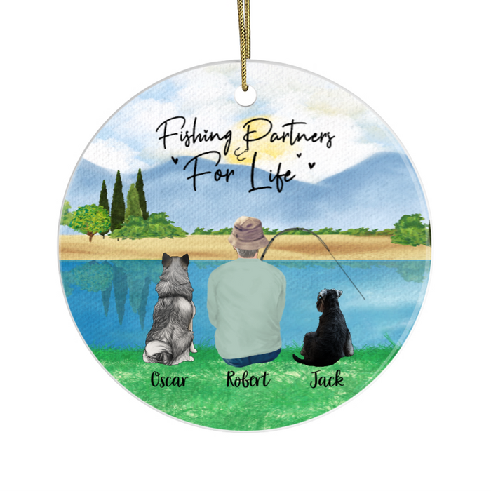Personalized Ornament, Fishing Man and Dogs Custom Gift For Christmas