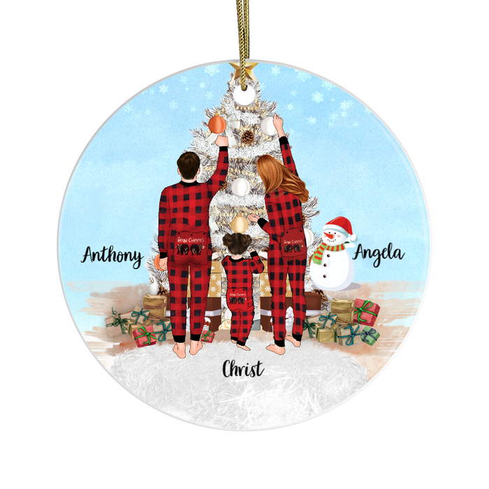 Personalized Ornament - Pajamas Family With Christmas Tree Custom Gift For Noel